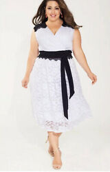 IGIGI Berenice White Lace Classy Dress Black Belt Cocktail Plus Sz 26 28 $89.99