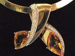 BIG NATURAL Gem Citrine & Diamond SOLID Yellow Gold Bypass Necklace 26.28Ct