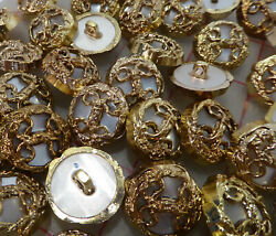 12 vintage gold plastic shank buttons filigree design with moonglow center 21mm $5.50
