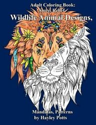 Wildlife Animal Designs Adult Coloring Book Paperback by Potts Hayley Bran...