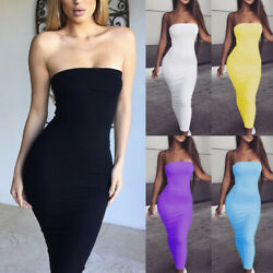 Fashion New Women#x27;s Solid Skinny Lowcut Off Shoulder Casual Wrap Long Dress Club $4.99