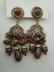 Chandelier Antiqued Gold Tone & Faux Amber Chunky Statement Clip-On Earrings