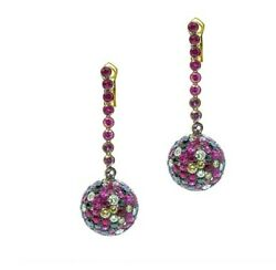 Cantamessa Boulle Pink Earrings 18K Gold Ruby Diamond Pink Sapphire