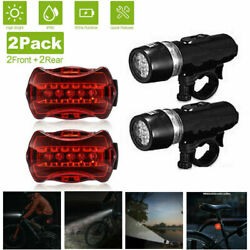 2 set Waterproof 5 LED Lamp Bike Bicycle Front Head Light+Rear Safety Flashlight $9.46