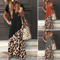 ZANZEA Women Summer Leopard Print T-Shirt Dress Sundress Kaftan Long Maxi Dress $16.55