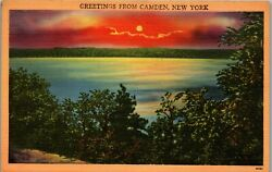 Greetings From Camden NY Sunset Over Water Vintage Postcard GG1 195 $0.99