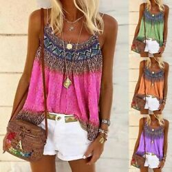 Women Summer Loose Casual Vest Tank Tops Sleeveless Boho Printing T-Shirt Blouse $11.39