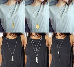 FUNEIA 6 PCS Long Pendant Necklace for Women Simple Bar Layer Three Triangle Tas $17.39