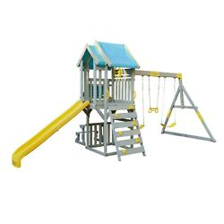 Brand new 2020 KidKraft Seacove Swing SetPlayset BlueYellowGray Playground