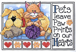 Stamped Cross Stitch Mini Kit Dimensions Cat amp; Dog Pet Paw Prints #6931 $7.99