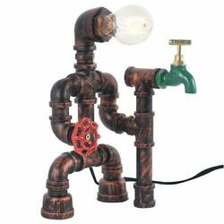 Industrial Reading Steampunk Robot Table Lamp with Switch Water Pipe Desk Light $51.51