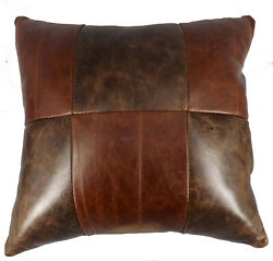 AMISH LEATHER QUILT PILLOW 15quot; Handmade in 6 Patch Design Exquisite Look amp; Feel $89.97
