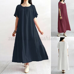 ZANZEA Women Summer Solid Casual Dress O-Neck Lace-Up Cotton Ankle Length Dress $15.63