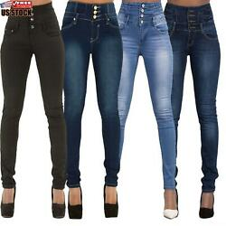Women#x27;s High Waisted Denim Pants Jeans Ladies Button Stretchy Skinny Jeggings $29.82
