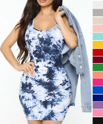 Women#x27;s Tie Dye Print Tank Top Summer Dress Stretch Cotton Knit Sleeveless Mini $14.99