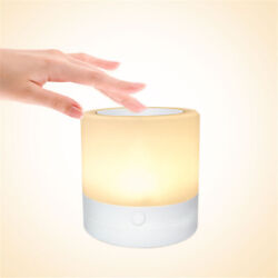Bedside Lamp Touch Sensor LED Night Light Adjustable Wireless 7 Colors Dimmable $9.90