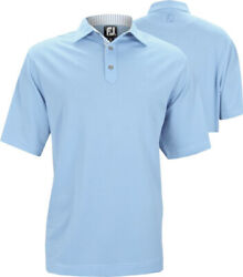 New Men's FootJoy Solid Stretch Pique Polo Shirt - Light Blue - Large $49.99