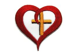 Christian Cross in Red Heart Embroidered Iron On Patch Applique 2.25 Inches $3.09