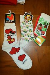 WOMENS SOCKS VINTAGE mickey mouse unlimited disney 9 11 size Free Xmas Pairs $12.74