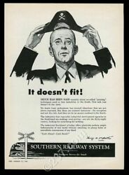 1956 Southern Railway System train businessman in pirate hat vintage print ad $37.00