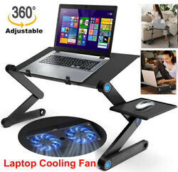 Portable 360°Adjustable foldable Laptop Desk Table Stand Bed Tray Cooling Fan $27.19
