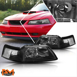 For 99-04 Ford Mustang Black Housing Headlight Clear Corner Signal Lamps Pair $69.89