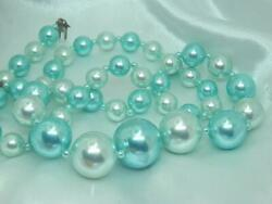 Beautiful Two Tone Blue Colored Lucite Vintage 50#x27;s Round Clasp Necklace 585jn0 $23.99