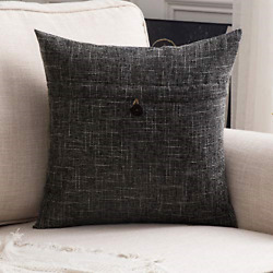 MIULEE Decorative Linen Throw Pillow Covers Cushion Case Button Vintage for Sofa $16.69
