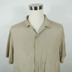 Axis Mens Silk Short Sleeve Button Down Solid Beige Casual Dress Shirt Large $10.50