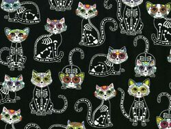 FAT QUARTER SUGAR SKULLS  CATS KITTENS KITTY  SKULL  HALLOWEEN COTTON FABRIC  FQ $5.95