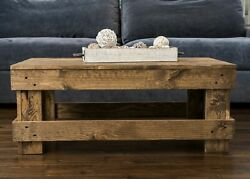 Rustic Coffee Table Center Solid Wood Farmhouse Modern Living Room Furniture New $127.94