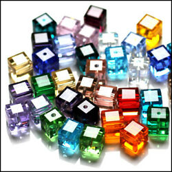 Wholesale Cube Crystal Glass Loose Beads Fit Jewelry DIY Making 4mm 6mm 8mm $8.49