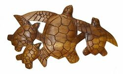 HAND CARVED WOOD SEA TURTLE FAMILY WALL ART SIGN BAR POOL TROPICAL ISLAND DECO