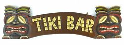 HAND CARVED TIKI BAR TWO MASK HAWAIIAN POLYNESIAN SIGN TROPICAL WALL ART TOTEM