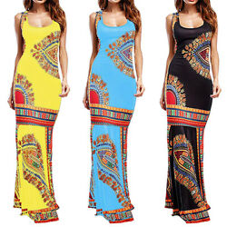 Womens Boho Floral Sleeveless Maxi Dresses Summer Casual Bodycon Party Sundress $14.89