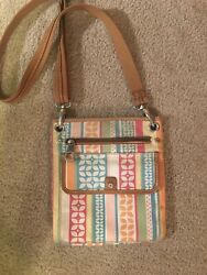Fossil Crossbody BAG Organizer Multi-Color Rainbow Logo Fabric Leather Trim  $5.99