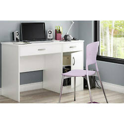 Small Work Desk Computer Study Table Drawer Kids Teens Student Office Wood White $139.37