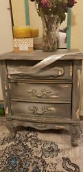 Table Shabby Chic gray antique nightstand $180.00