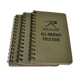 Rothco 3x5 Waterproof All Weather Notebook Field Book Spiral Bound 3 PACK $16.49