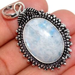 Rainbow Moonstone 925 Sterling Silver Plated Pendant 1.8