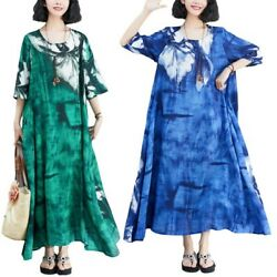 Women Oversize Loose Floral Printed Maxi Dresses Long Short Sleeve Kaftan Robe L