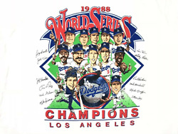 Vintage 80#x27;s 1988 World Series Los Angeles Dodgers 100% COTTON MEN T Shirt WM45 $17.90