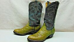 Men's 11.5 D Exotic Taupe & Gray Exotic Python Anaconda Snake Leather Ride Boots $34.99