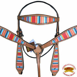 Western Horse Headstall Breast Collar Set Tack American Leather Serape U--SET $99.95