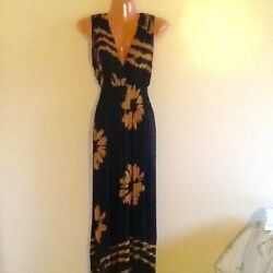 Women#x27;s Plus Size Surplice Black amp; Brown Floral Print Long Maxi Dress 1X 2X 3X $19.99