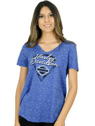Harley Davidson Womens Blue Chip Burnout Short Sleeve V Neck T Shirt $9.99
