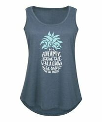 Instant Message Womens Crew Neck Short Sleeve Printed Relaxed Fit Tank Gray L $4.87