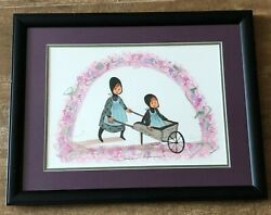 Sisters Ride P Buckley Moss print 2000 LE framed girls wheelbarrow picture Amish $74.50