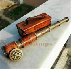 ANTIQUE BRASS TELESCOPE MARINE NAUTICAL LEATHER PIRATE SPYGLASS VINTAGE SCOPE $19.99