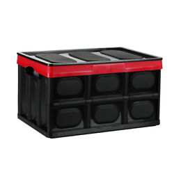 55L Folding Plastic Storage Box Durable Stackable Collapsible Utility Crate Lid $22.19